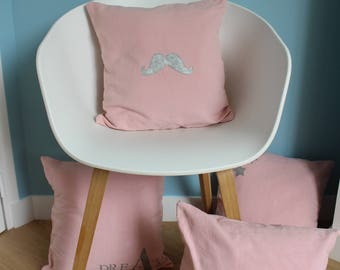 """Cover for """"Silver mustache"""" pink cushion made from old linen cotton - original home decor - 40 x 40 """""""