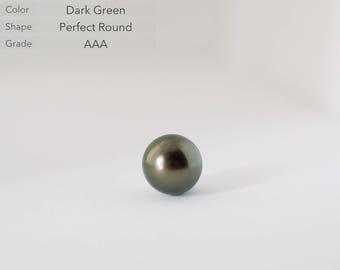 Dark Green Tahitian Pearl,10.8mm, Grade AAA,Perfect Round Tahitian Pearl,Undrilled Loose Pearl,Jewelry Gemstone Bead,Olive Green Black Pearl