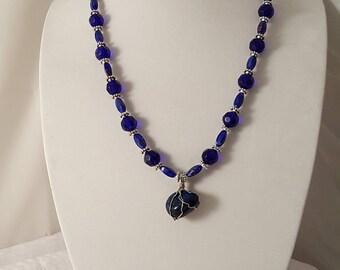 Blue Stone Pendant Necklace - Pendant Necklace - Stone Necklace - Blue Necklace - Blue Earrings - Blue Jewelry Set - Blue Stone Necklace