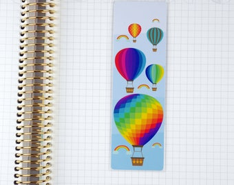 Laminated Hot Air Balloons and Rainbows Bookmark