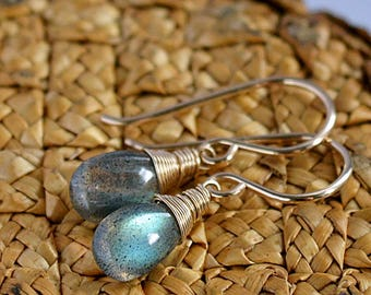 Labradorite Earrings, Simple Dangle earrings, Leverback Earrings, Gemstone Earrings in 14K Gold Filled, Rose Gold Filled, Sterling Silver