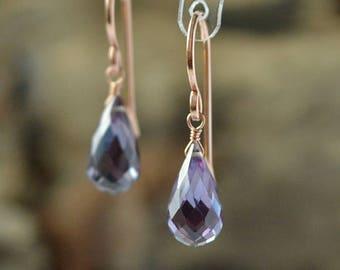 Alexandrite Dangle Earrings, June Birthstone Gift Color Changing Drop Leverback Gemstone Earrings, 14K Rose Gold Filled Sterling Silver