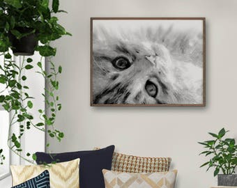 Grey Cat, Grey White Wall Art, Cat Painting, Cat Art, Cat Wall Art, Cat Nursery, Cat Lovers Gift, Girls Room Decor, Baby Room Artwork