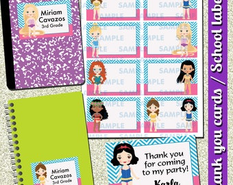 Princess Printable Labels-Princess Name Cards-Princess School Labels-Princess Thank you Cards-School Labels-Princess-Instant download-Bella