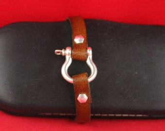 5B/7 MADE in EUROPE zamak horseshoe shape clasp for 10mm flat cord, D-ring zamak clasp (TMN1S) Qty1