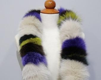 Trendi Fox fur scarf, Real fur collar, Fox fur, Colorful scarf, Fox collar, Fur Collar, Colorful fox collar, Fur scarves, Fashion scarf F804