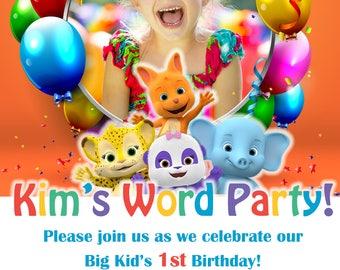 Word Party Birthday Invitation - Digital File