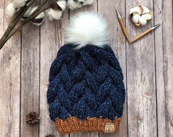 READY TO SHIP/Cable Knit Hat/Braided Cable Beanie/Slouchy Cable Knit Hat/Women's Blue Hat/Knit Beanie/Faux Fur Pom Pom Hat/Teen Adult Hat