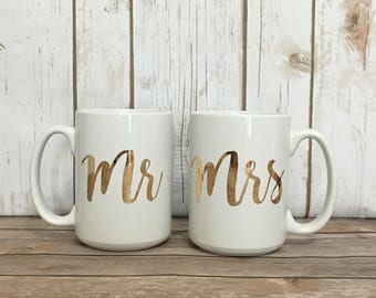 Mrs Mrs coffee mug set, engagement gift, wedding gift, bridal gift, mr mrs gift