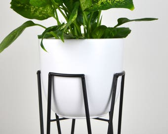 """6,7"""" Mid Century Modern Hairpin Bullet Planter Architecture Pottery Plant Stand Flower Pot Retro Vintage"""