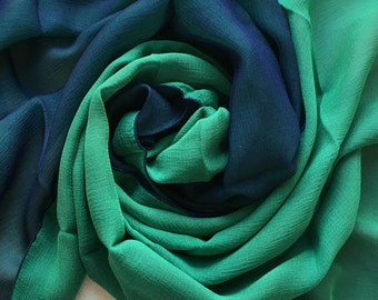 Rare 100% Silk Chiffon Scarf - Doubles (2 Different Colours Hand Sewn Together), Navy and Bright Green Unused and Perfect From 1970s Stock