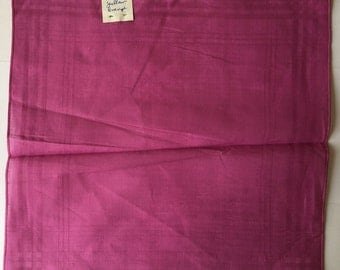 100% Cotton Ladies Handkerchief - Pink with Criss Cross Contrast  - New and Unused From Vintage 1970 Stock