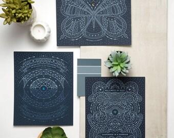 Carl Sagan Art Print Series | 8x10 or 16x20 | Cosmos, Space, Pale Blue Dot, Mote of Dust, Celestial, Astral, Butterfly, Cosmic Ocean, Stars