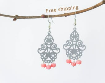 Pink coral earrings, Coral earings, Pink chandelier earrings, Coral chandelier earrings, Pink stone earrings, FREE SHIPPING jewelry