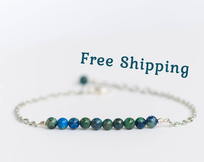 Azurite jewelry, Small bead bracelet, Natural azurite bracelet, Small gift for teen girls, Tiny bead bracelet, Chain bracelet