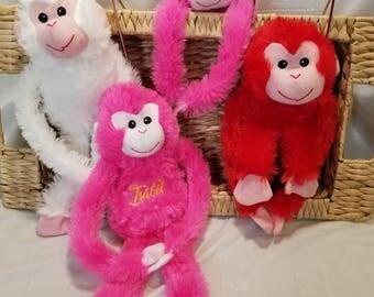 Personalized monkey etsy baby shower monkey personalized monkey plush personalized stuffed animal personalized stuffed animal for negle Images