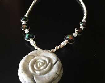 Marble Rose Necklace, Rose Necklace, Statement Necklace, Rose Hemp Necklace, Macrame Necklace, Beaded Hemp Necklace, Marble Rose Pendant