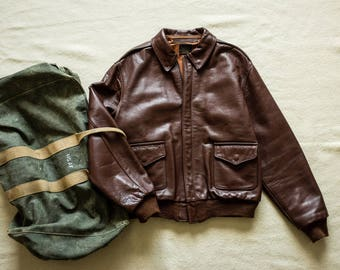 Eastman Leather WW2 USAAF A-2 Leather Flight Jacket Bomber Air Force Brown Buzz Rickson Nigel Cabourn real mccoy rrl lvc deck army biker