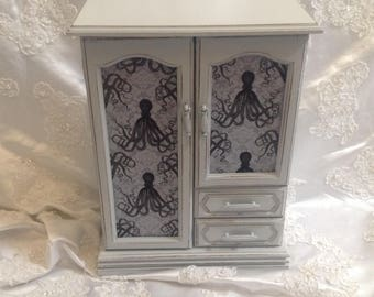 Jewelry Box Armoire Gray Steampunk Shabby Chic Distressed Upcycled Vintage Music Wood Jewelry Box Octopus Fabric