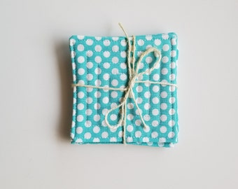 Aqua Polka Dot Quilted Coasters- Set of 4