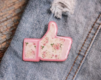 Facebook like pin Floral pin Facebook lover gift Facebook gift idea Floral brooch Like button pin Facebook jewelry Facebook accessories
