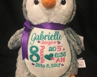 birth announcement stuffed animal, baby announcement plush animal, personalized stuffed animal baby gift, monogrammed Little Elska penguin