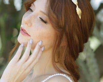 Gold Bridal Headband, Laurel Leaf Headband, Leaf Headband, Goddess Wreath, Bridal Headpiece, Bridesmaid Headband, Woodland Headband