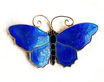 Vintage Sterling Silver Blue Enamel Large Butterfly Norway Brooch Pin