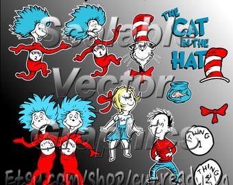 Cat In The Hat - Dr Seuss - 11 Vector Designs - Cut Files - SVG / DXF / EPS
