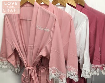 Bridesmaid Cotton Lace Robes 6, Bridal Party Cotton Robes, Monogram Robes, Lace Kimono Robes, Embroider Bridesmaid Gifts, Wedding Robes