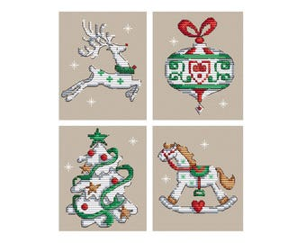 Elements of Christmas - Set of 4 - Durene J Cross Stitch Pattern - DJXS2242