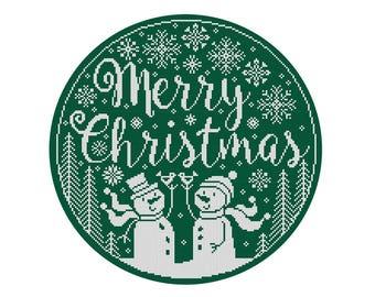 Merry Christmas Snowman Hoop - Durene J Cross Stitch Pattern - DJXS2252