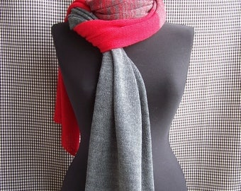 big long thin soft red-gray striped gradient knit wool blend scarf for men or women