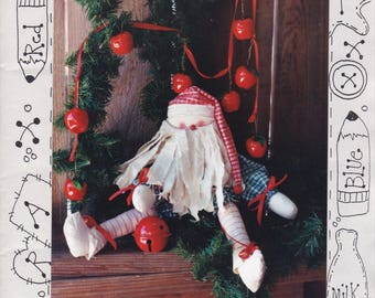"FREE US SHIP Craft Sewing Pattern Christmas The Victorian Rose Hide and Seek 21"" Santa Claus Doll Gift Treat Bag Uncut"