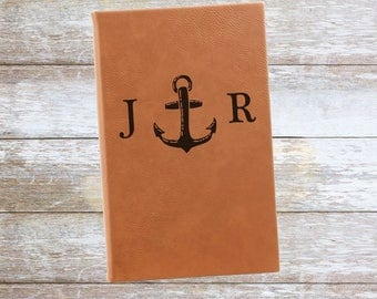 Personalized Anchor Leatherette Journal with Initials ,Engraved,Lined,