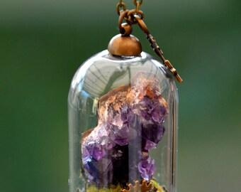 "Necklace ""Géologhia"" globe stone: Amethyst"