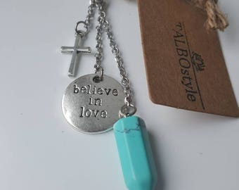 Stone Keychain fine turquoise with cross charm and believe in love.