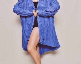 80s deep blue crinkly cocoon long sleeve rhinestone layering kimono robe jacket