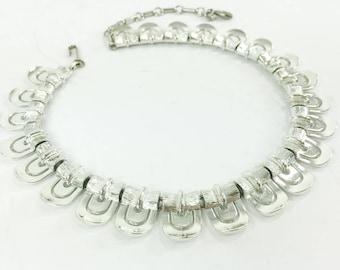 60s Lisner Silver Link Choker Necklace | Lisner