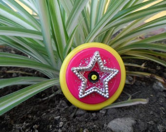 Ring, yellow, pink cap, glitter and Star Silver