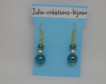 Earrings peacock blue pearls
