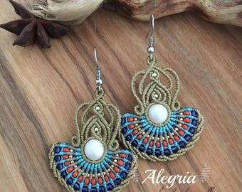 Micro macrame earrings with SWAROVSKI pearl