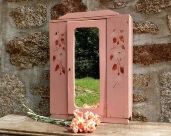Doll's Wardrobe, Vintage Shabby Pink Miniature Furniture, French Doll Furniture Painted