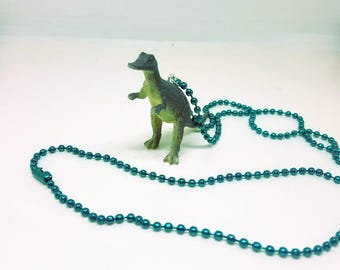 Dinosaur Necklace Blue Ball Chain Grey Dinosaur Jewelry Gifts 5 and Under