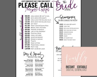 Wedding schedule etsy for Wedding day schedule of events template