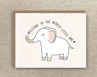 Baby Card - New Baby Card - Welcome to the World Little One - Elephant Baby Card  - Baby Girl Card  - Baby Boy Card - Neutral Baby Card