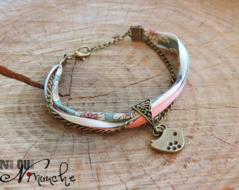 """Bracelet liberty floral ribbons turquoise rose coral salmon cream bird charm in bronze and chain """"Surelle"""""""