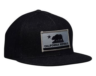 California Republic SnapBack by LET'S BE IRIE - Black Denim Hat with Gray Flag