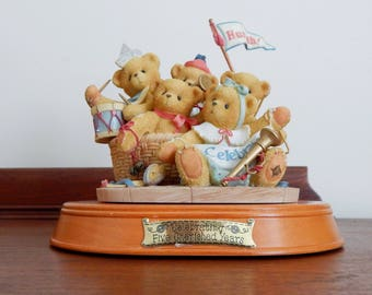 Enesco Cherished Teddies Commemorative 5 Year Anniversary Figurine (1996 Retired), Strike Up The Band and Give 5 Years a Hand