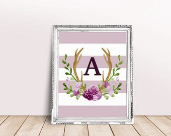 Baby Initial Decor A | Antler Wreath, Baby Wreath Letter, Rustic Letter, Floral Letter, Abby Personalized, Abby, Personal Nursery Art